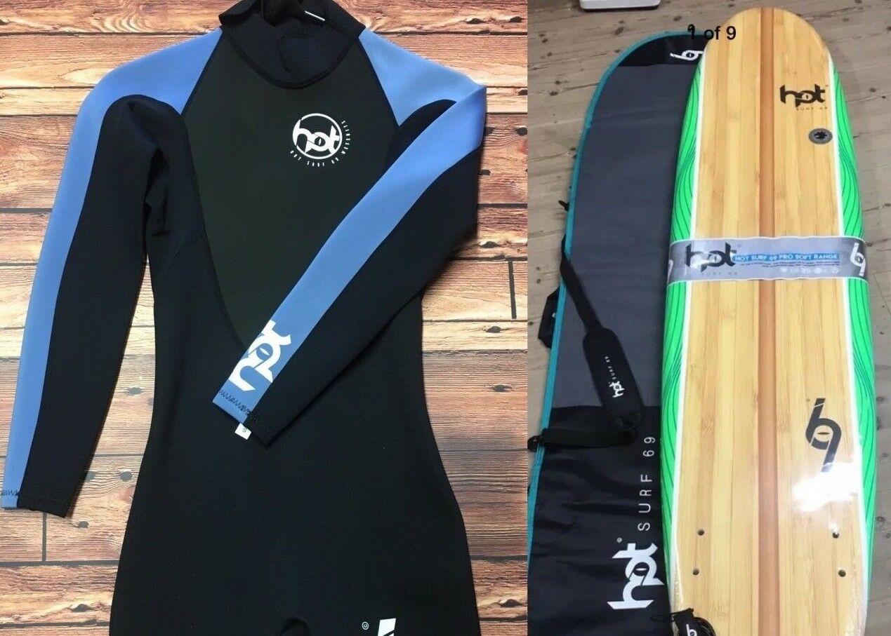 8ft Hotsurf 69 Beginners Softboard Package, Surfboard,Leash,Bag,Wax,Mens  Wetsuit